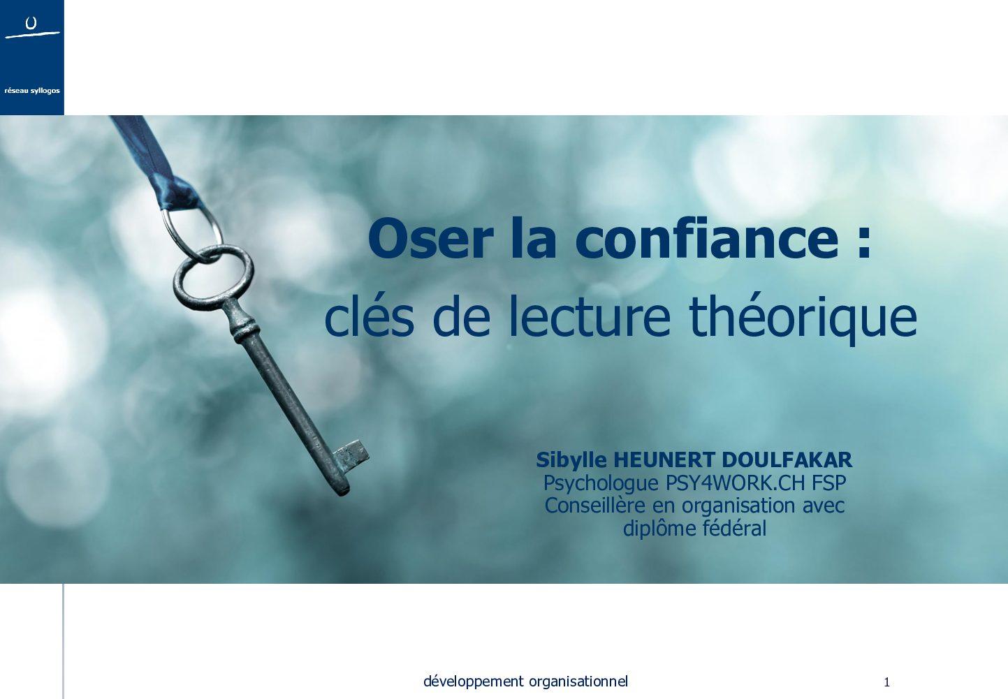 Oser la confiance : clés de lecture théoriques